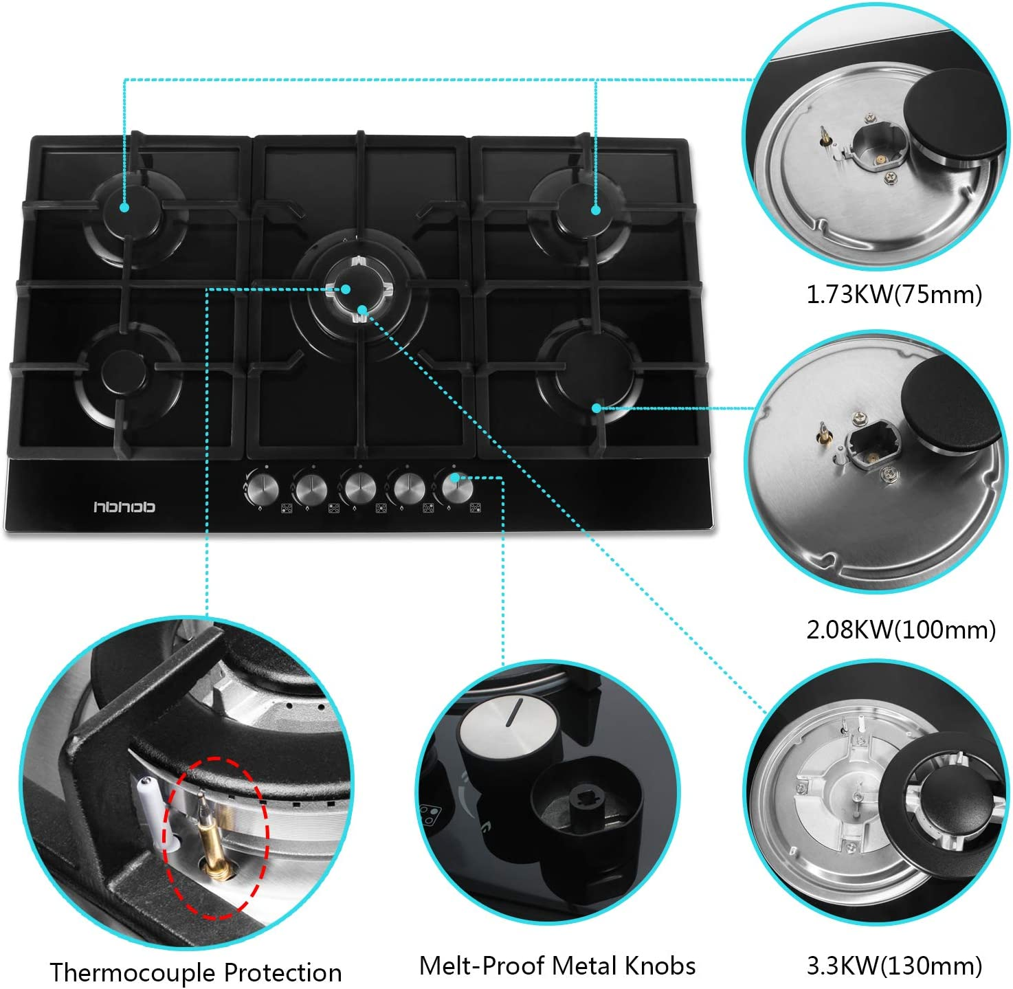 5 Sealed Burners Stove Burner Cast Iron Grate Stove-Top LPG//NG Dual Fuel Thermocouple Protection and Easy to Clea Gas Stove Gas Cooktop Tempered Glass Built in Gas Stove 5 Burners Gas Stoves Cooktop