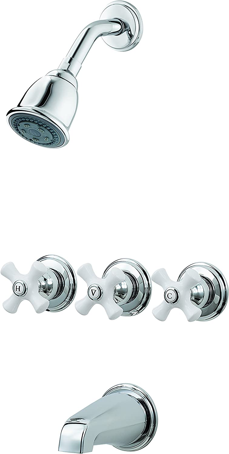 Pfister LG01-8CPC 3 Tub & Shower Faucet with Porcelain Cross Handles, Polished Chrome