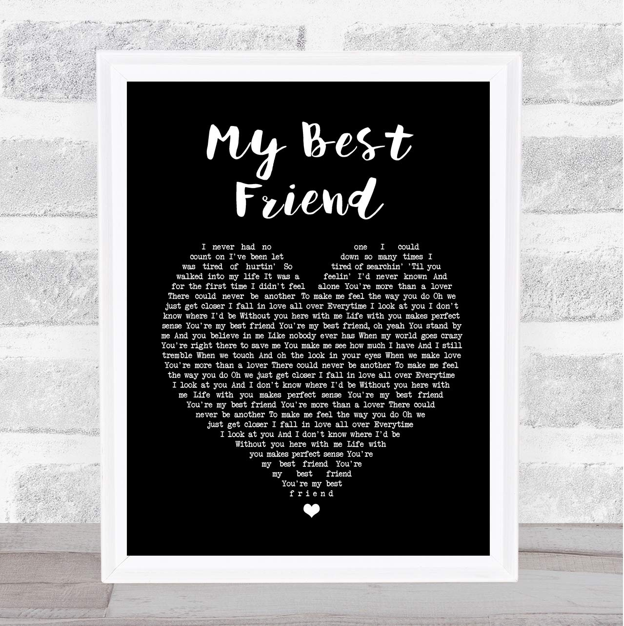 Amazon.com: My Best Friend Black Heart Song Lyric Quote ...