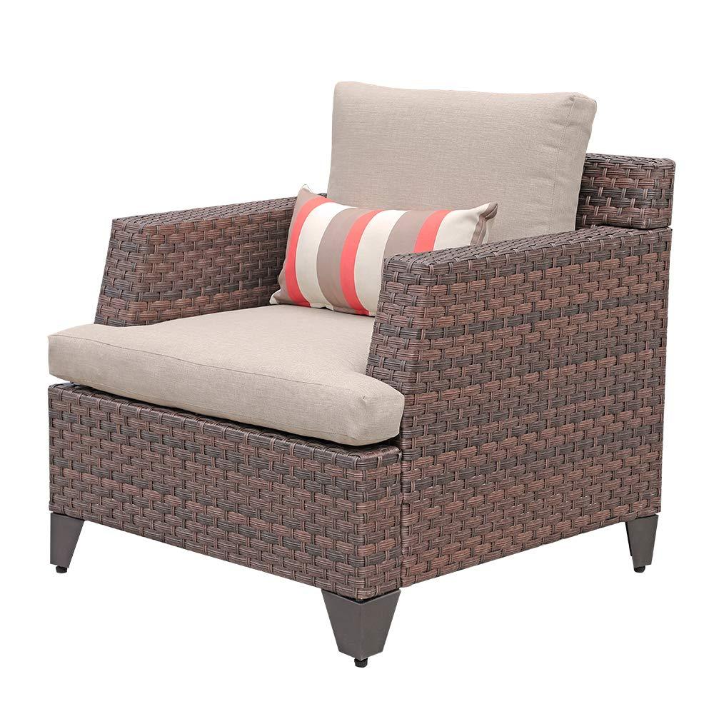 SUNSITT Brown Wicker Single Club Chairs Patio Outdoor Furniture w/Beige Olefin Cushions & Striped Throw Pillow by SUNSITT