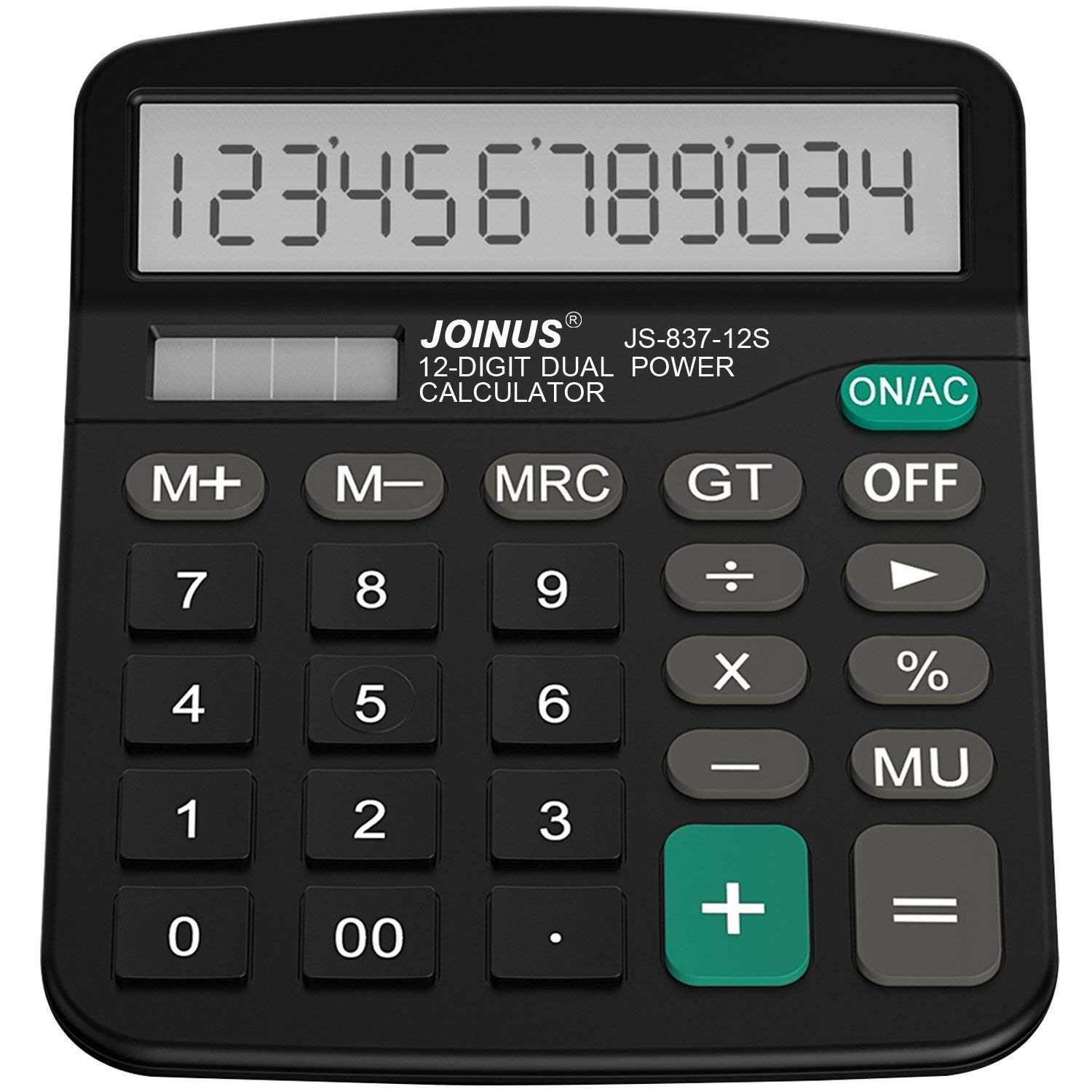 Calculator, CITIZEN Standard Function Electronics Desktop Calculators, Solar and Battery Dual Power, Big Button 12 Digit Large LCD Display, Handheld for Daily and Basic Office, Black UbiddaDirect