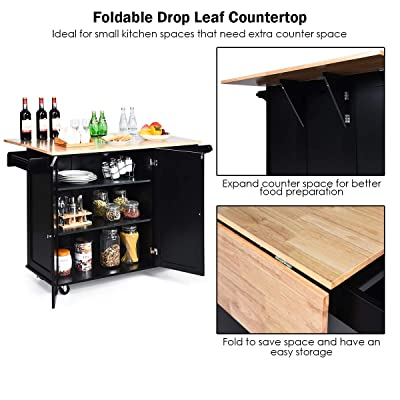 Buy Giantex Kitchen Island Cart With Drop Leaf Tabletop Large Trolley Cart With Large Cabinet 3 Drawers Towel Rack Kitchen And Dining Room Utensils Organizer On Wheels Online In Indonesia B07zkl9pyl