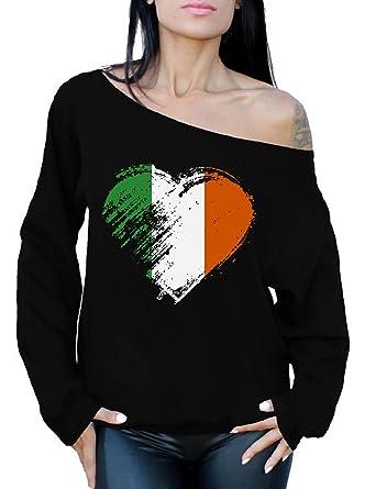 63f8a12ec Awkward Styles Irish Love Off Shoulder Sweatshirt St. Patrick s Day ...