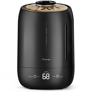 iTvanila Humidifiers, 4L Cool Mist Ultrasonic Humidifiers,Air Humidifiers Baby,Bedroom,Living Room,Office,Auto-Off Whisper Quiet,Large Water Tank Over 42 Hrs Operating Time (Black)