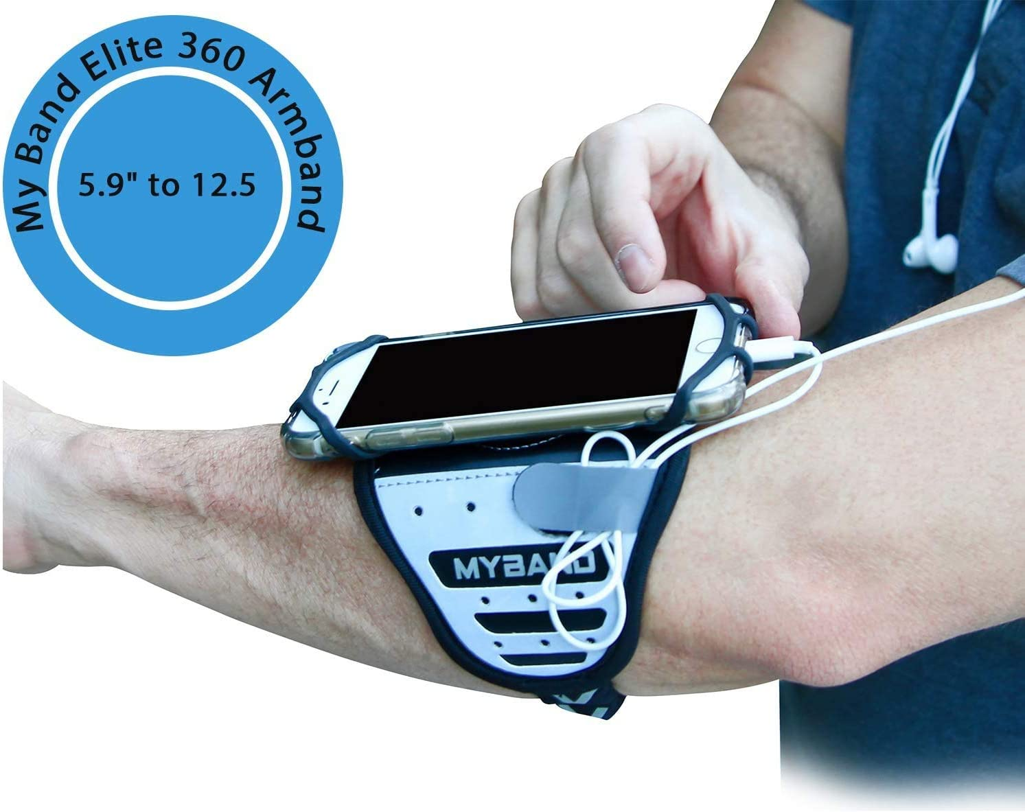 Fits 4-6.5 Inch Smartphones Reflective Surface MyBand Rotatable Phone Armband Workout Phone Holder 360/° Rotatable Armband 5.9-12.5 Inch Forearm Adjustable Fit Hidden Security Pocket