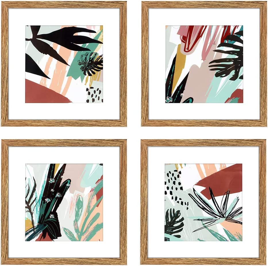 ArtbyHannah 10 x 10 Inch 4 Panels Wall Art Framed Poster Walnut Picture Frame Collage Set with Mat Modern Abstract Wall Art Décor with Tropical Botanical Plant Prints for Gallery Wall Kit Walnut