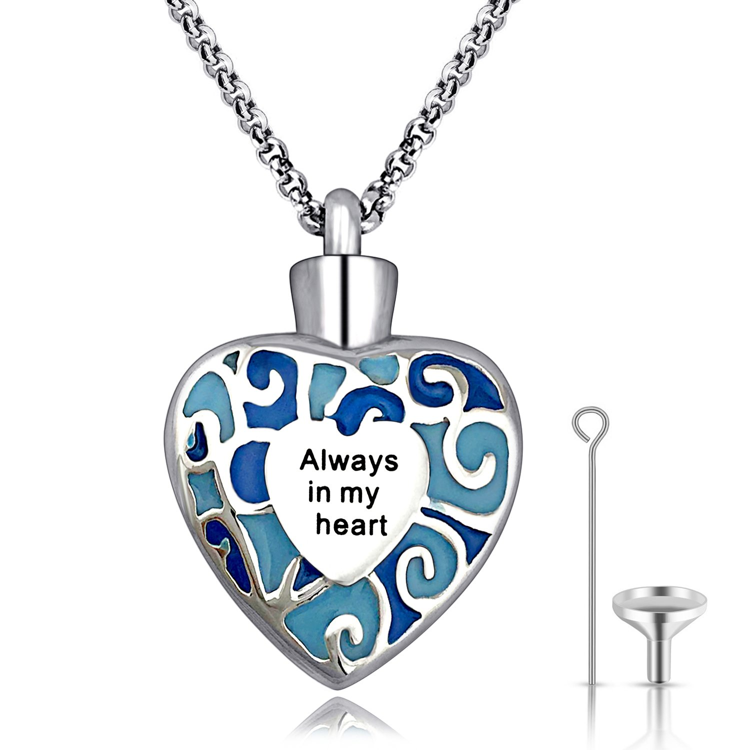 YOUFENG Urn Necklaces for Ashes Always in My Heart Cremation Jewelry Stainless Steel Ashes Pendant Necklace 24'' (Heart Urn Necklace)
