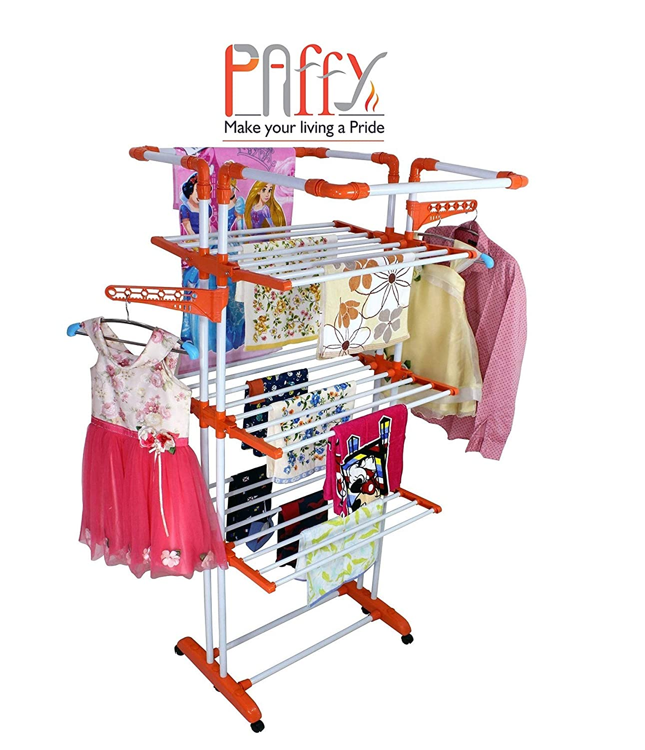 Paffy Steel Cloth Drying Stand, 3 Layer
