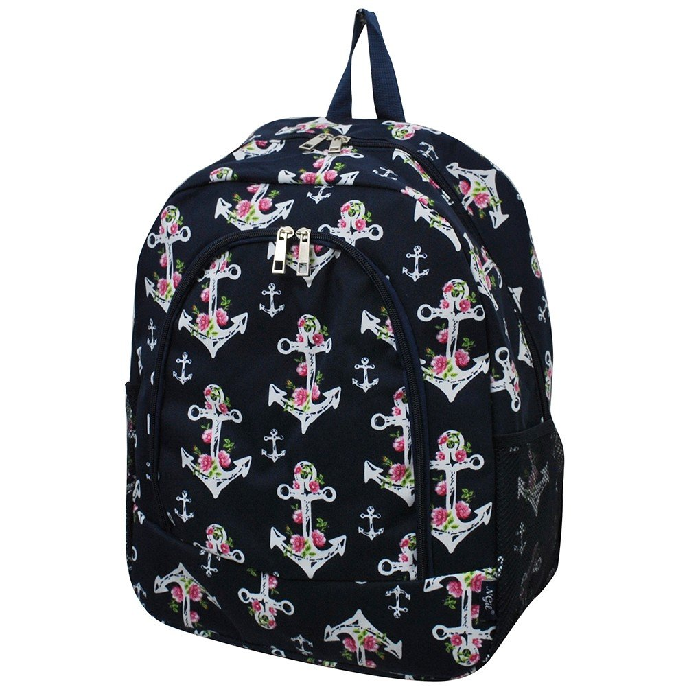 pink Anchornavy Cow in Town NGIL Canvas School Backpack