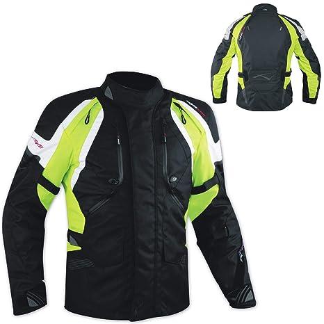 A-pro Touring Turismo Cordura Chaqueta Enduro Moto impermeables 4 estaciones Fluo L