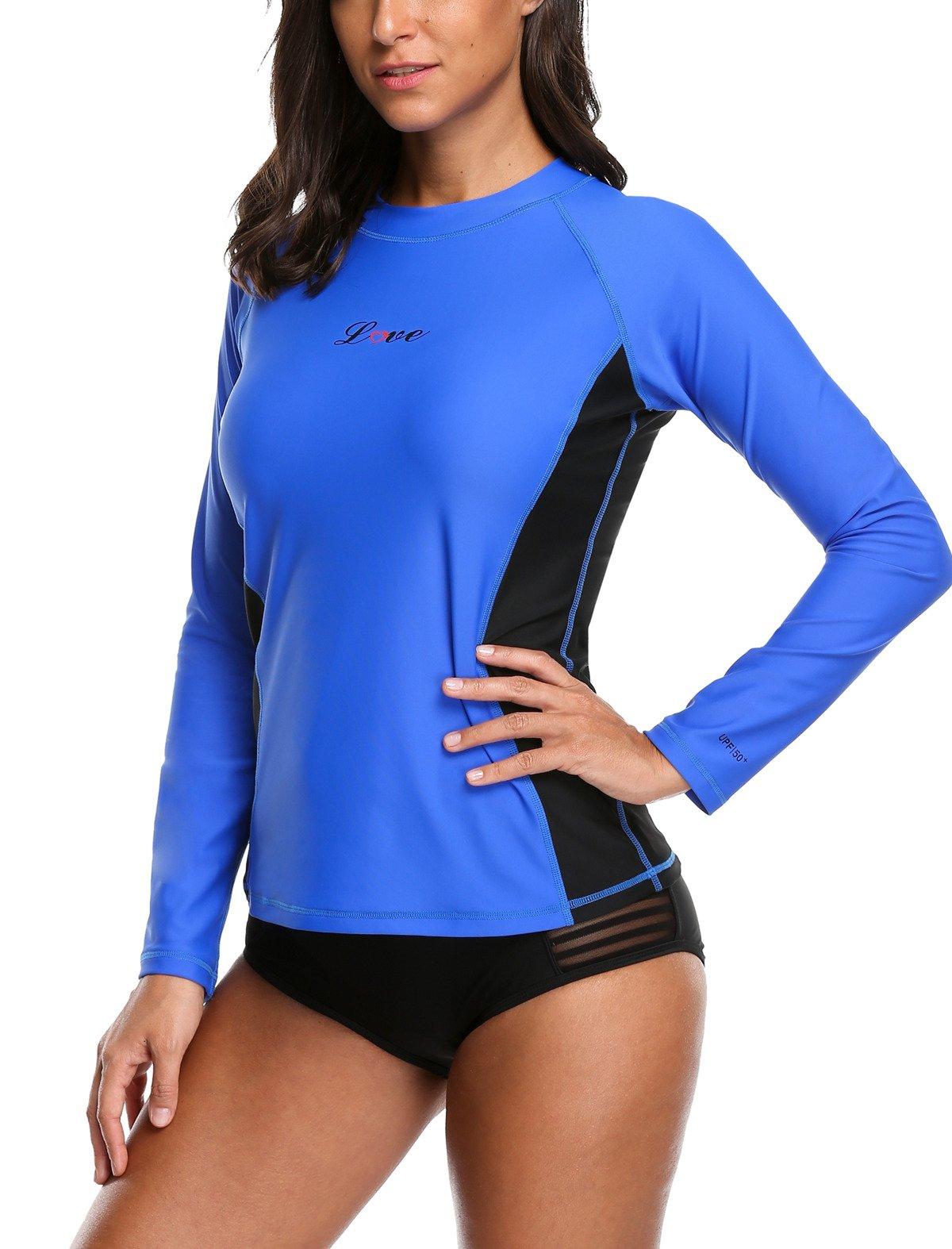 ALove Surf Shirt Rash Guard UPF 50 Athletic Top Womens Surf Rashguard Long Sleeve Medium by ALove (Image #2)