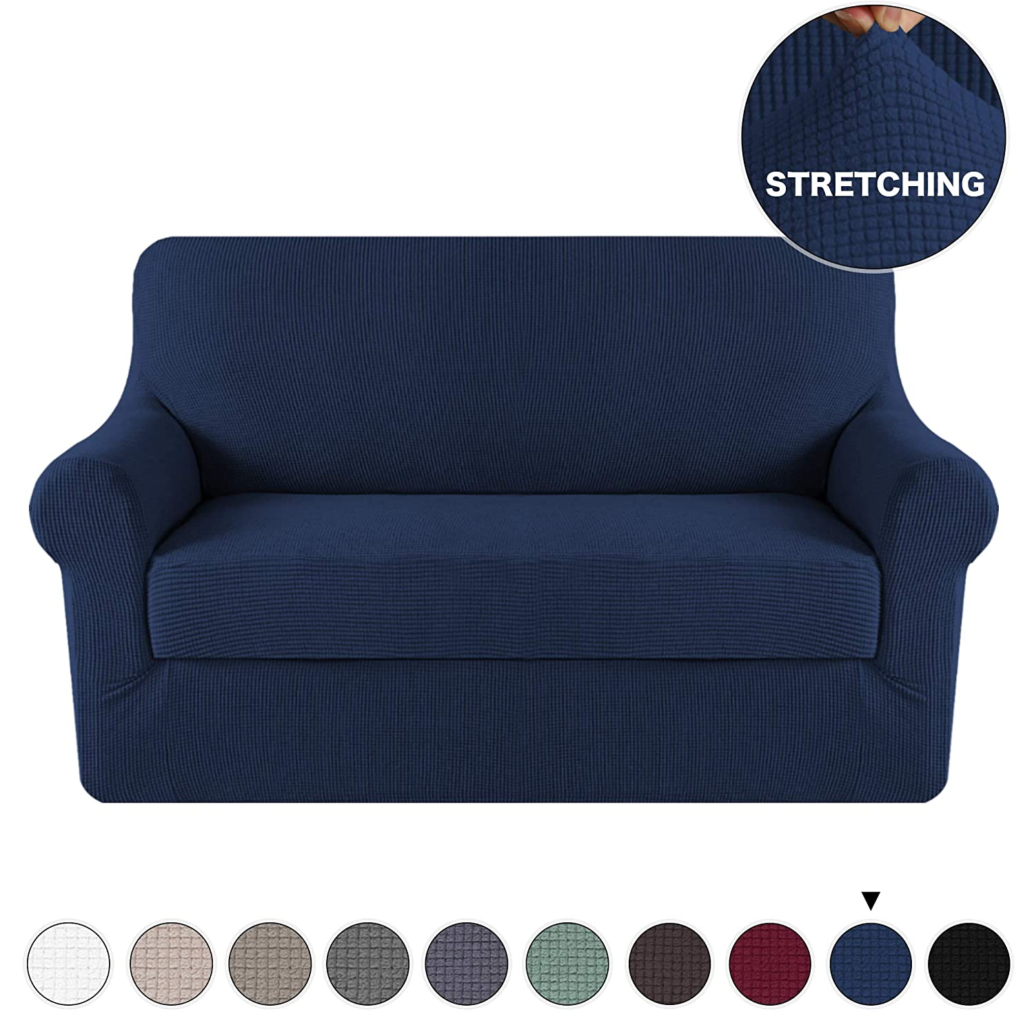 2 Piece Navy Sofa Slipcover Stretch Loveseat Slipcover Furniture Protector  Sofa Cover, Spandex Stretch Fabric Super Soft Sofa Covers Anti-Slip Couch  ...