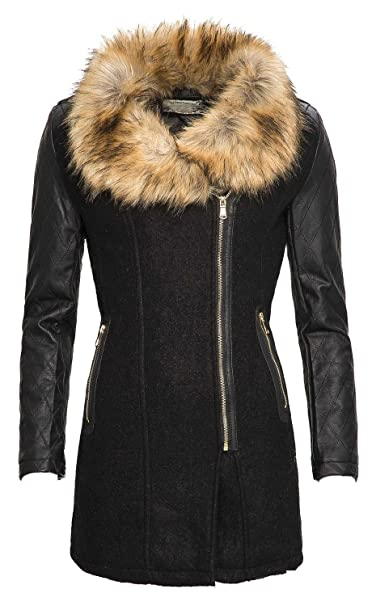 502a769ee5 Donna Inverno woll cappotto giacca Parka cappotto in Eco Pelle ...