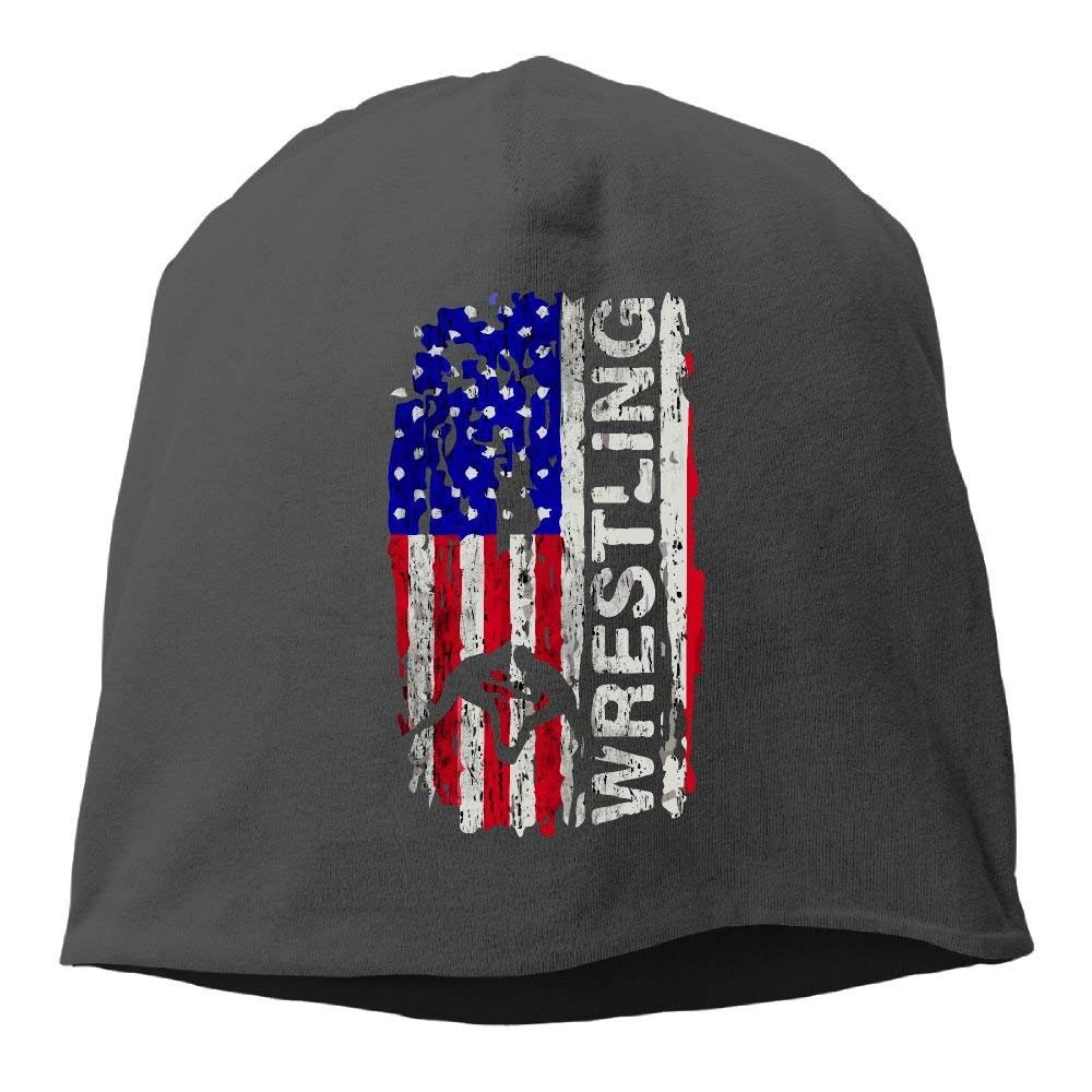 Wagroo USA Flag Wrestling Women/Men Wool Hat Soft Stretch Beanies Skull Cap Unisex by Wagroo