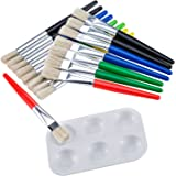 16 Pieces Large Flat and Round Children's Paint Brushes with Painting Tray, Assorted Color