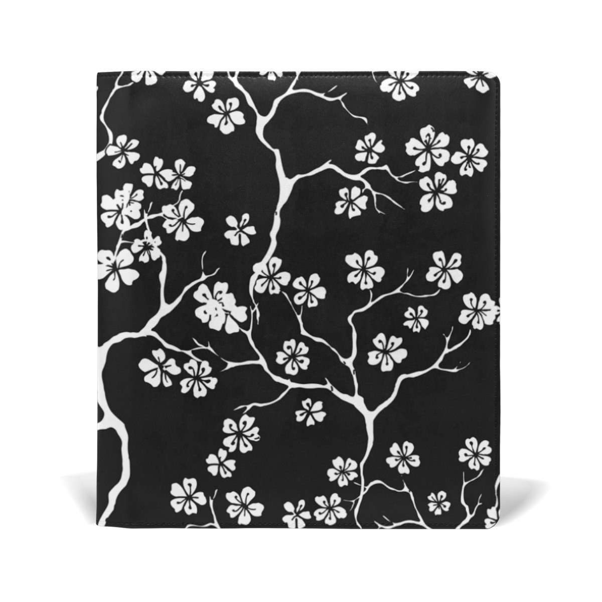 ColourLife Leather Book Covers for Textbooks Hardcovers White Flowers On Black School Books Protector 9 x 11 inches