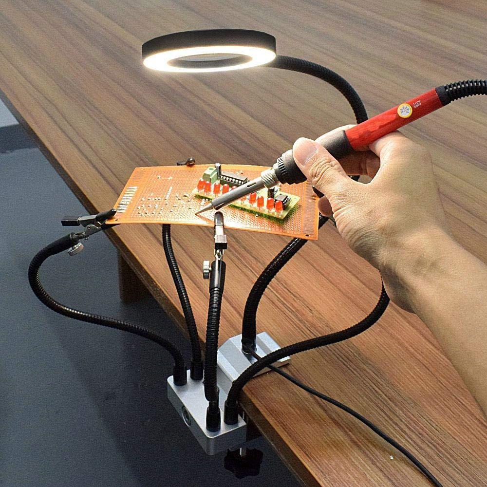 Womdee Saldatura Flessibile aiutando Le Mani aiutando Mani Terza Mano di Saldatura con 3X LED Lente dIngrandimento 42 Mini LED Torcia Terza Mano Strumento di Saldatura