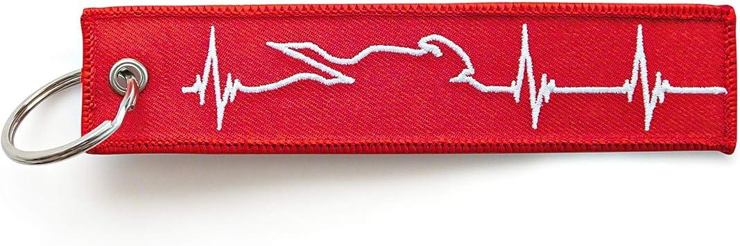 Renegade Motorrad Schlüsselanhänger Aus Stoff Mit Schlüsselring Bestickt Kratzfest 130 X 30 Mm Rot Weiß Ideal Für Ihr Motorrad Herzschlag Rot Auto