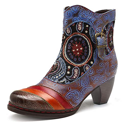 357c33f355a Seraph Women Retro Bohemian Ankle Boots Leather Printed Zip Mid Block Heel  Cowgirl Booties