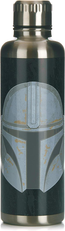 Paladone PP7361MAN The Mandalorian-Botella de agua de metal, acero inoxidable, 500 milliliters, multicolor