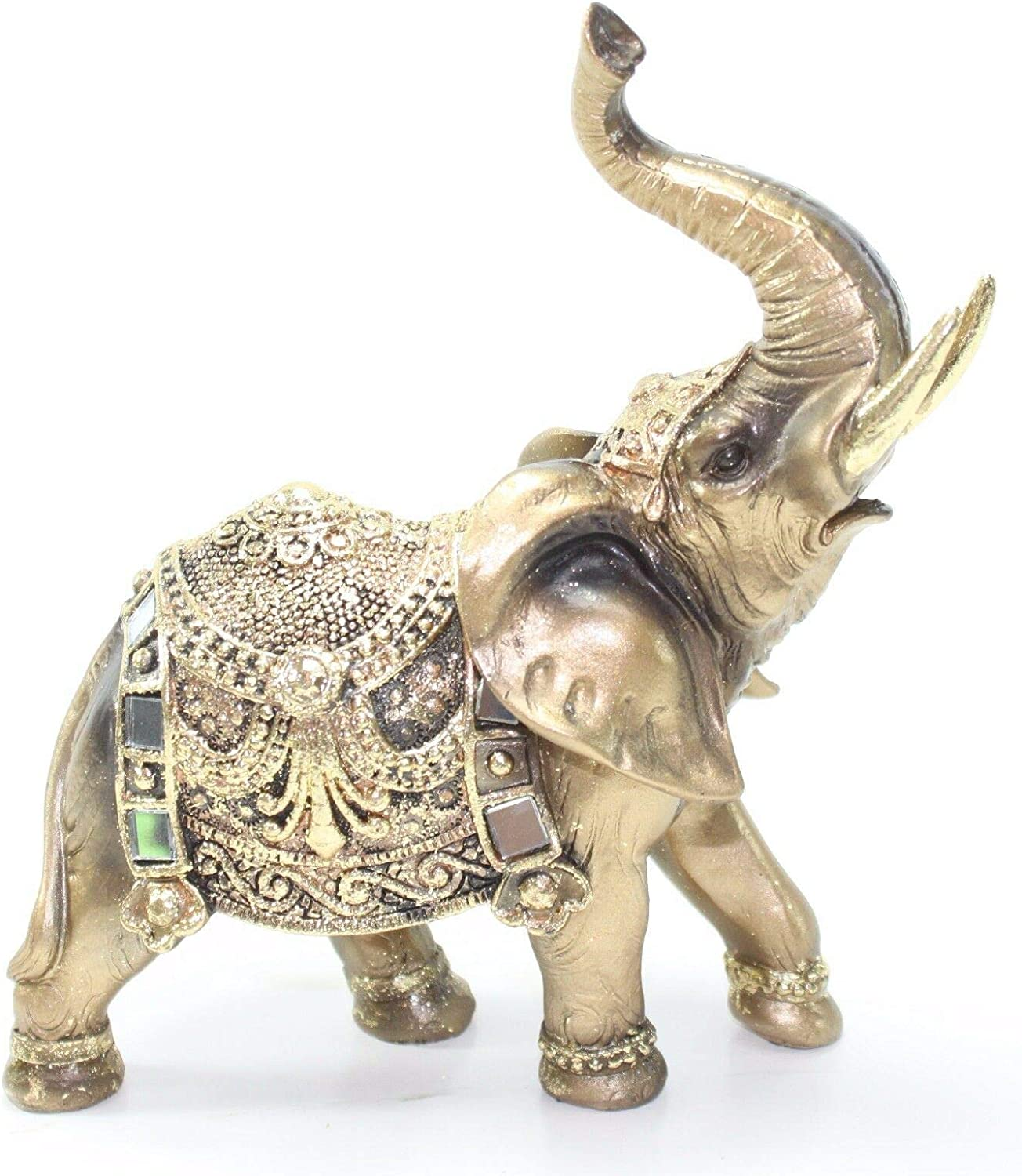 Feng Shui Resin  Elephant Trunk Statue Lucky Wealth Figurine Home Decoration