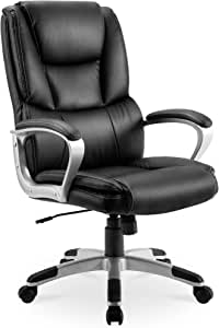 Office Chair Computer Desk Chair Ergonomic Swivel Executive Adjustable Back Support Chair-Black