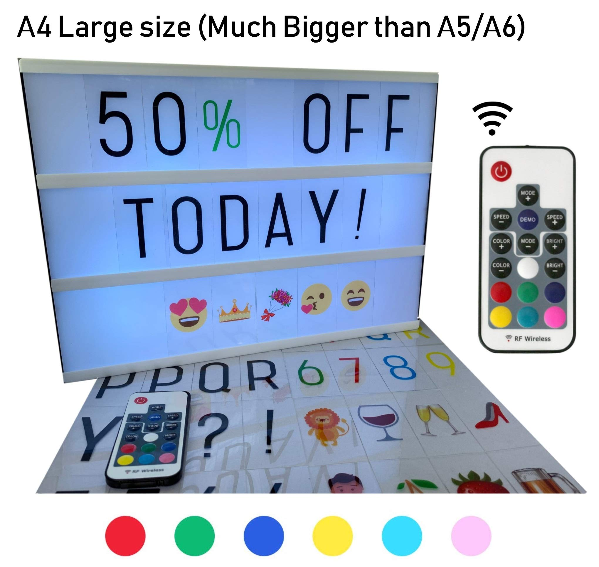 Large A4 Cinematic Light Box with Remote Control and 211 Letters and Colored Emojis. Light up Letters for LED Message Board, Sign, Marquee. USB and AA Battery. Light up Letter Box by BestCircle by BestCircle