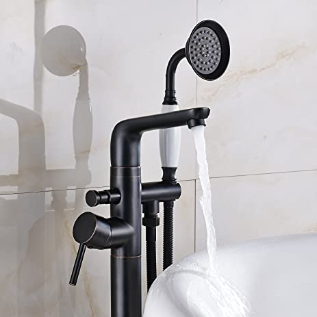 Rozin Oil Rubbed Bronze Floor Mounted Tub Faucet with Handheld Shower Set