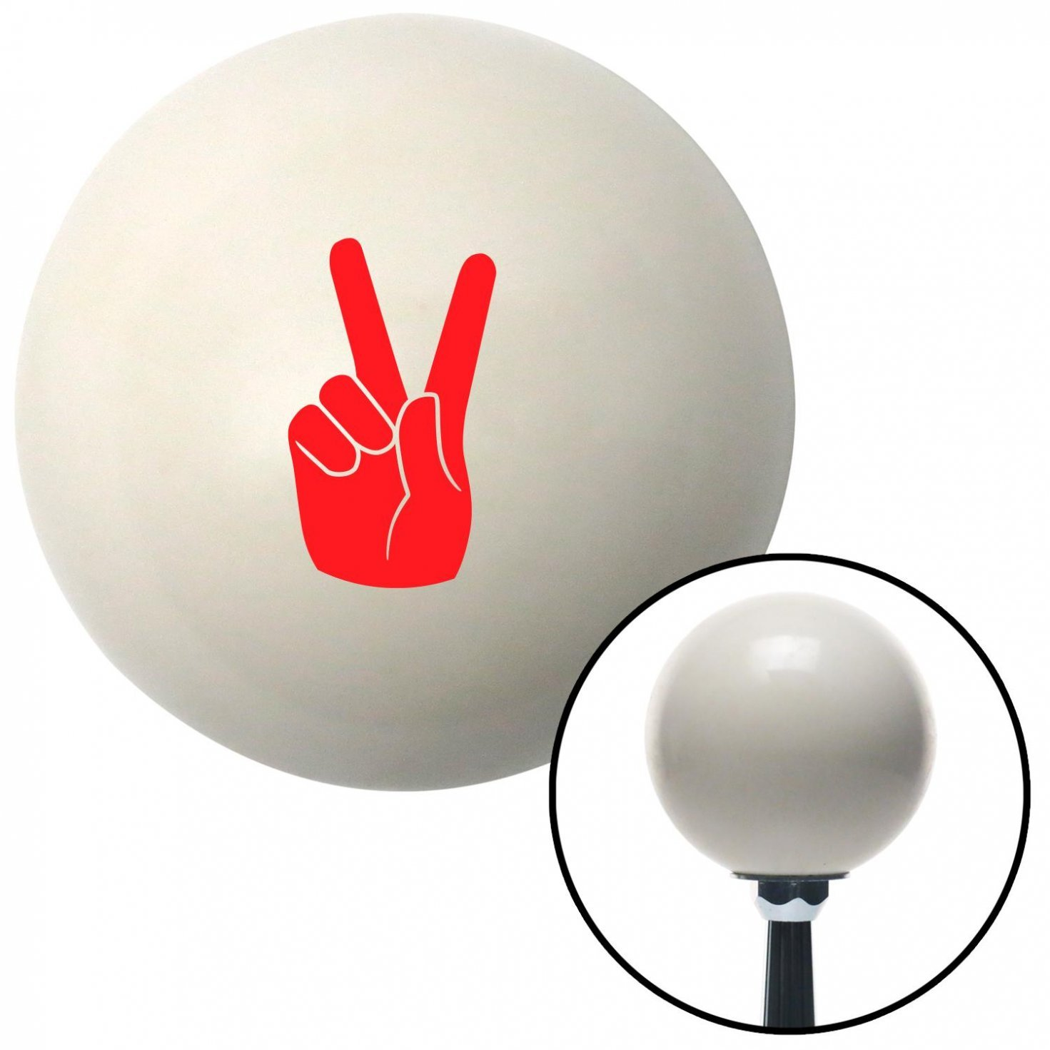 American Shifter 34145 Ivory Shift Knob with 16mm x 1.5 Insert Red Peace Sign