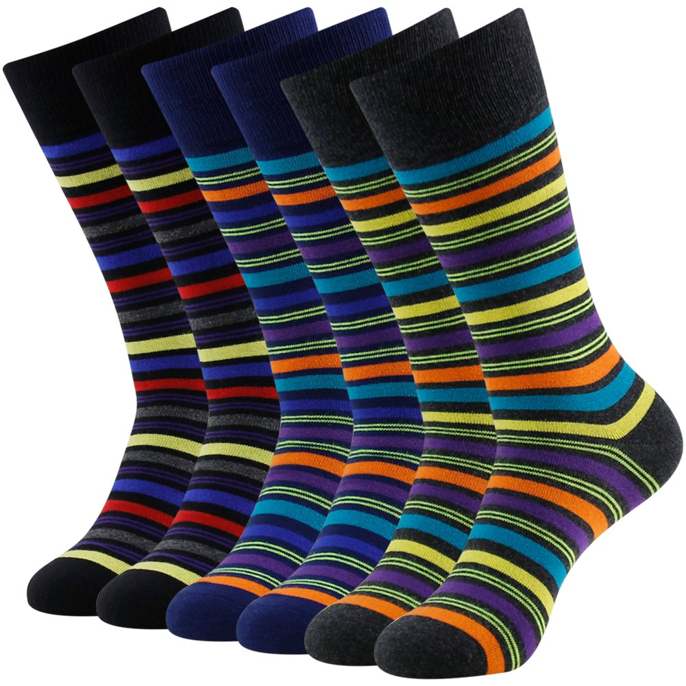 Colorful Cotton Socks, LADUNCIAGA Business Wedding Socks 6 Pack Designed Novelty Happy Funny Crew Colorful Stripe Bridgegroom Groomsmens Socks