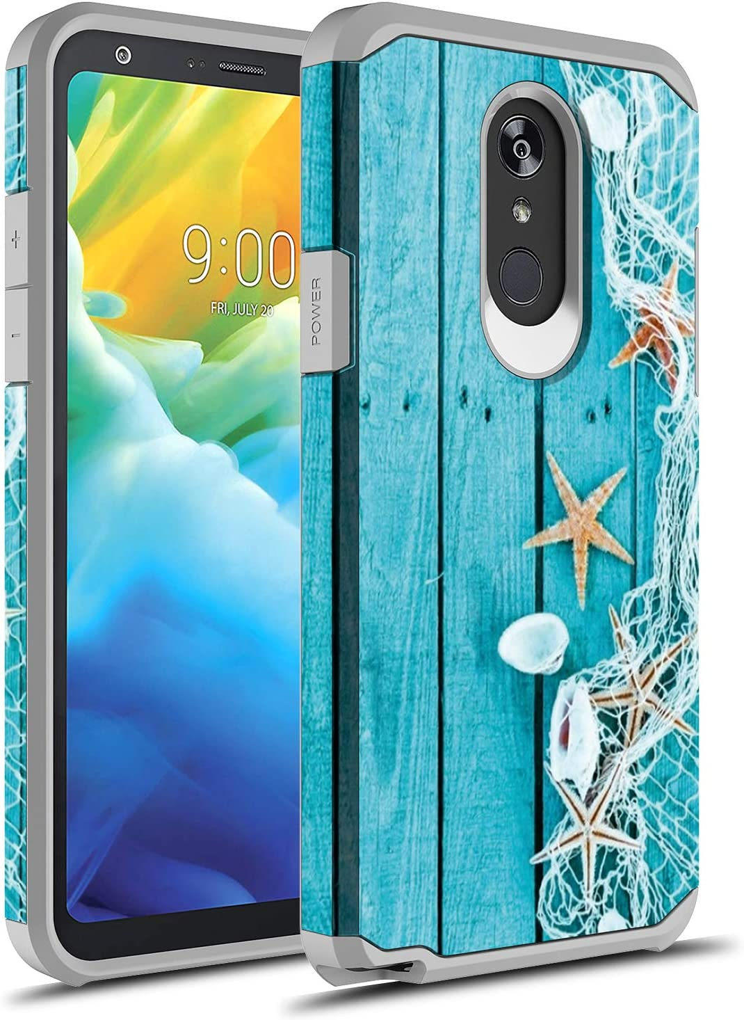 LG Stylo 5 Case, Rosebono Slim Hybrid Dual Layer Shockproof Hard Cover Graphic Fashion Cute Colorful Silicone Skin Cover Armor Case for LG Stylo 5 (Starfish)