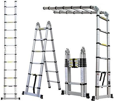 Escalera telescópica de 3,8 m, escalera flexible con marco en A (1,9 m + 1,9 m), ahorra espacio, fácil transporte, aluminio para el hogar y la empresa: Amazon.es: Bricolaje y herramientas
