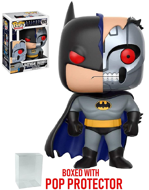DC Heroes: Batman The Animated Series Bundled with Pop BOX PROTECTOR CASE Batman Robot #193 Vinyl Figure Funko Pop