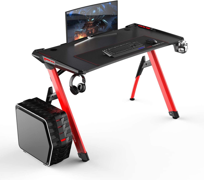sogesfurniture Mesa de Juegos para computadora, Ergonomic Gaming Desk (Amplia Superficie de Juego, Luces Leds en los Laterales, Patas de Acero Resistentes, Estructura en R), Negro&Rojo ST-R3-RED-B