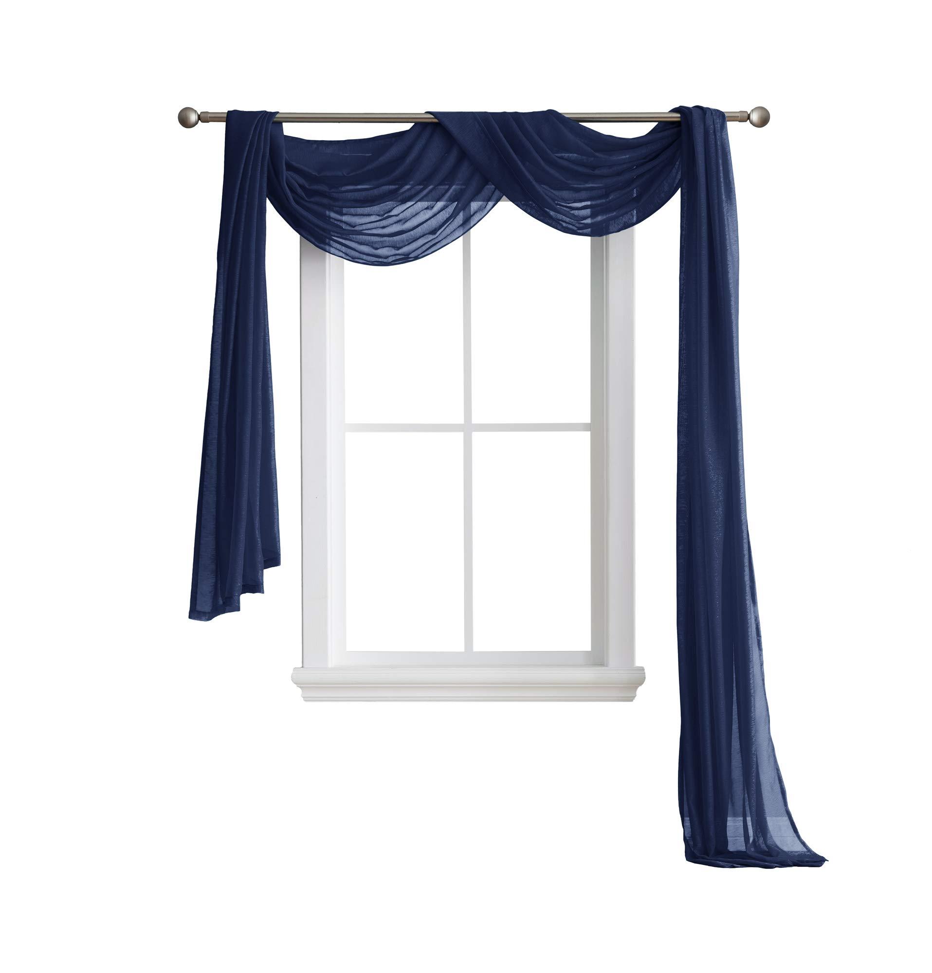LinenZone Karina - Semi-Sheer Window Scarf (54 x 216) - Elegant Home Decor Window Treatments - Add to Window Curtains for Enhanced Effect (1 Scarf 54'' x 216'', Navy)
