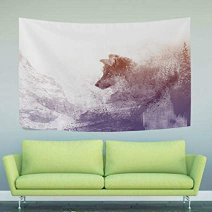 Amazon Com Wihve Winter Wolf Tapestry Yoga Mat Wall Hanging