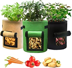 BENOSS 3 Pcs Potato Grow Bags Breathable Non-Woven Planting Bag with Handles and Velcro Window, Vegetable and Fruit Plant Container Growing Bag, Greenhouses for Outdoors, Home and Garden (6.5 Gallon)