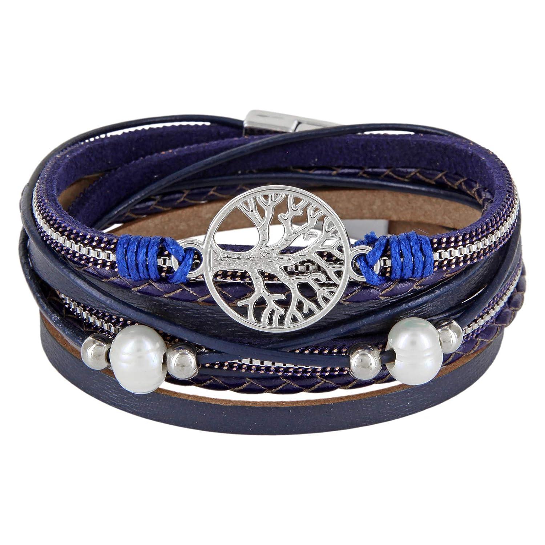 StarAppeal Armband Wickelarmband mit Perlen, Ketten, Flechtelement und Lebensbaum Anhänger, Magnetverschluss Silber, Damen Armband