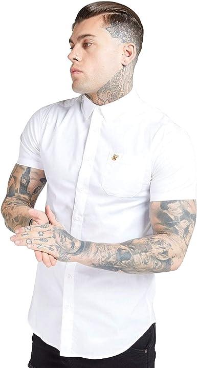 Siksilk Ss 16157 Camisa De Manga Corta Con Logotipo De Metal Dorado Blanco Amazon Es Ropa Y Accesorios