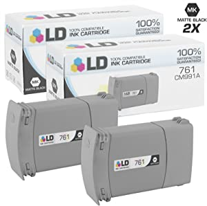 LD Remanufactured Ink Cartridge Replacement for HP 761 CM991A (Matte Black, 2-Pack)
