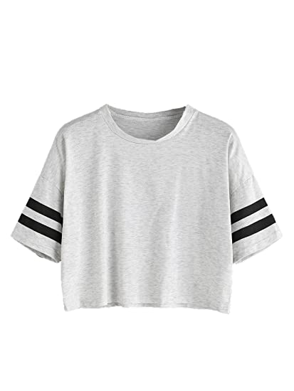5189a1d8f5775 MAKEMECHIC Women's Short Sleeve Oversized Striped Summer Crop Tee T-Shirt  Top Grey S