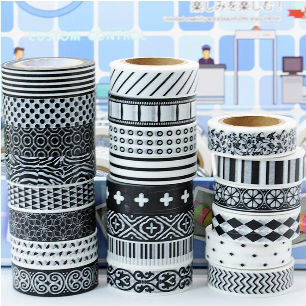 Awerise 5 Rolls Black and White Theme Washi Tape, DIY Scrapbooking Decorative Tape, Masking Tape, Planner Tape, Birthday card Decoration, Craft Gift Decoration Tape Stickers