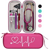 BOVKE Travel Carrying Case for 3M Littmann Classic III Stethoscope - Extra Room for Taylor Percussion Reflex Hammer and Reusable LED Penlight, Raspberry