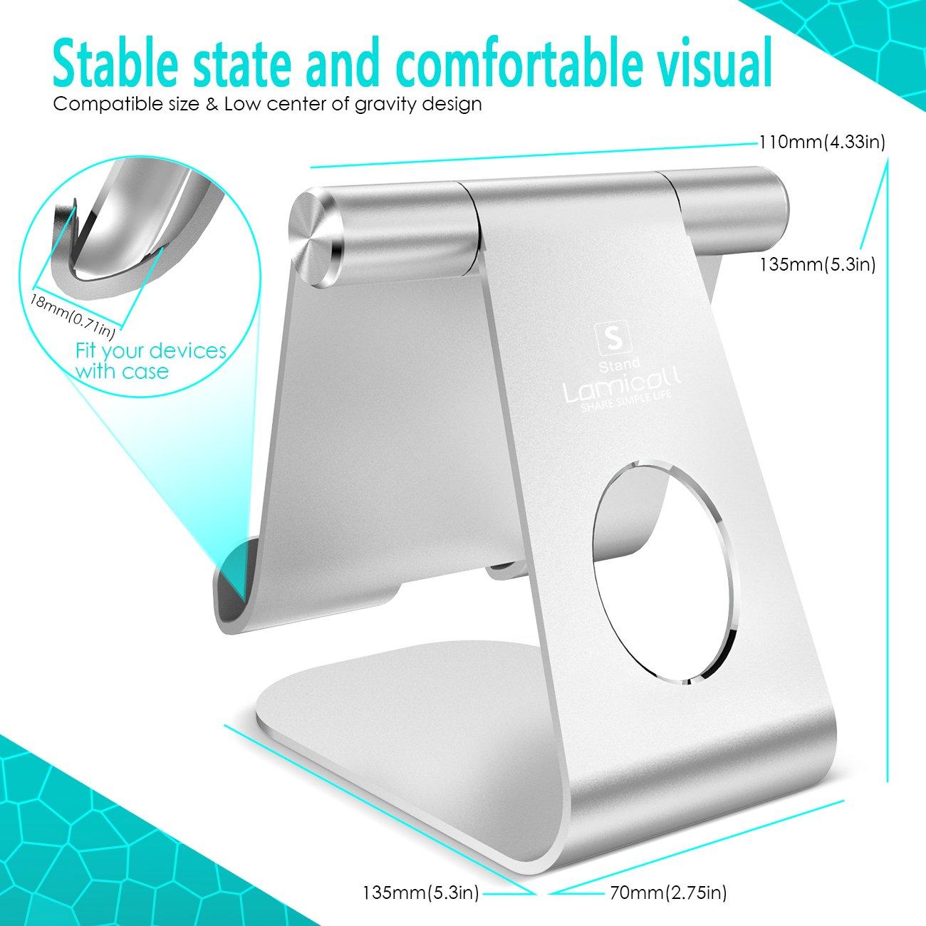 Pad mini 2 3 4 Pad Air Air 2 Soporte Tablet plata Otras Tablets Samsung Tab Lamicall Multi/ángulo Soporte Tablet : Soporte Base Ajustable para Tablets para Pad 2018 Pro 10.5 // 9.7 // 12.9