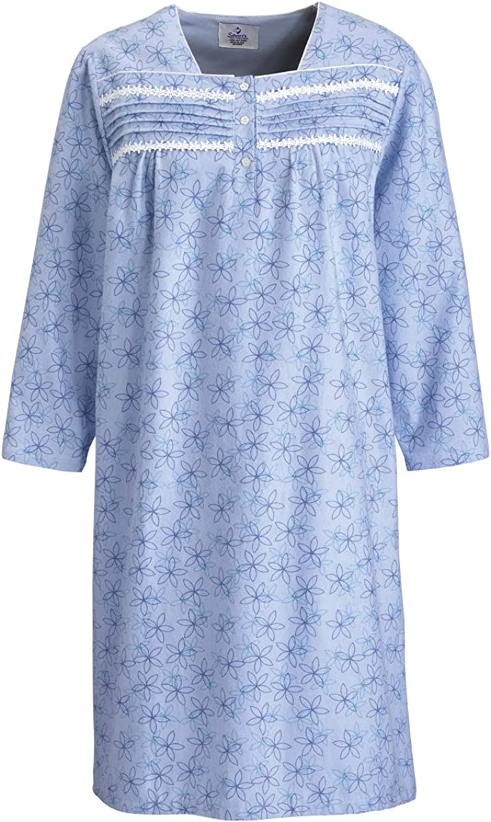 Silverts Disabled Elderly Needs Womens Flannel Adaptive Hospital Gowns Open Back Nightgowns