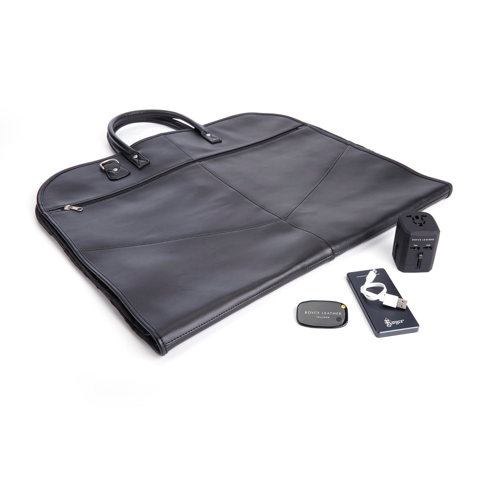 ROYCE Luxury Travel Set: Garment Bag with Bluetooth-based Tracking Device for Locating Luggage, Portable Power Bank and International Adapter - Black