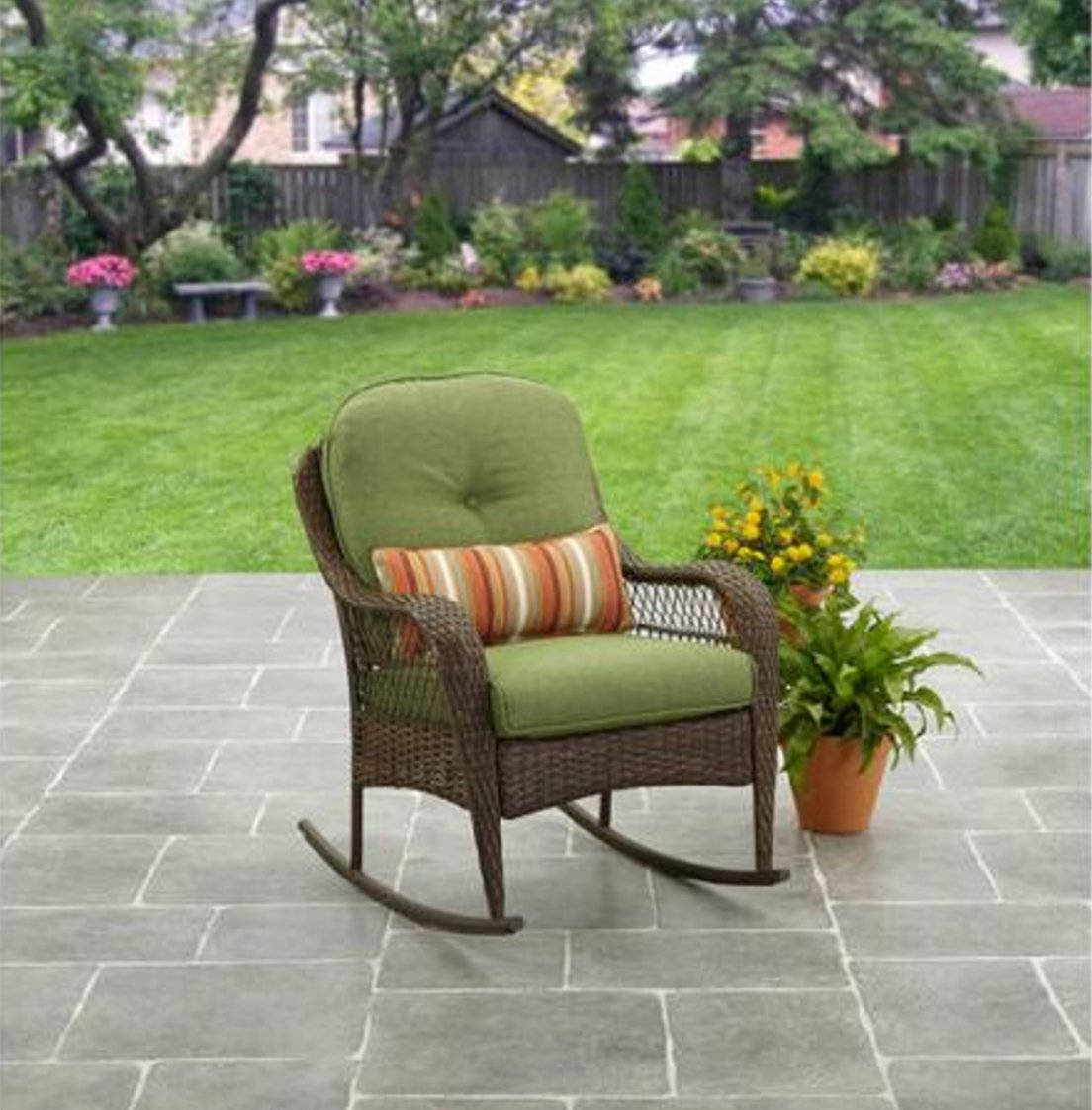 Patio Furniture Rocking Chair Brown Wicker Outdoor Porch All-Weather UV Treated