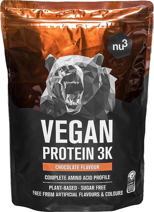 Batidos de proteínas veganas - Proteína vegetal 3K en polvo - de 3 componentes vegetales (guisante, girasol & arroz) - 1 Kg sabor chocolate - Para ...