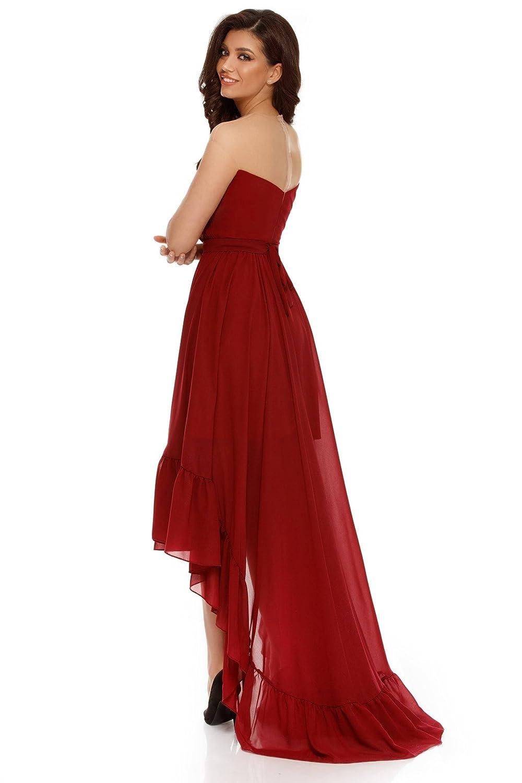 Miss Grey Mujer Ropa de Fiesta Asimétrico Largo sin Tirantes Acampanado Cóctel Vestido de Noche Elegante: Amazon.es: Ropa y accesorios