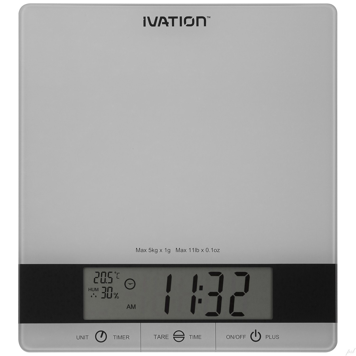 Ivation Digital Kitchen Scale w/Timer, Clock, Temperature & RH Levels - Provides Super Accurate Readings in Ounce, Fluid Ounce, Milliliter, Pound  Ounce & Gram Weight Units - Features 11-Pound Capacity & One-Button Tare Setting - Silver